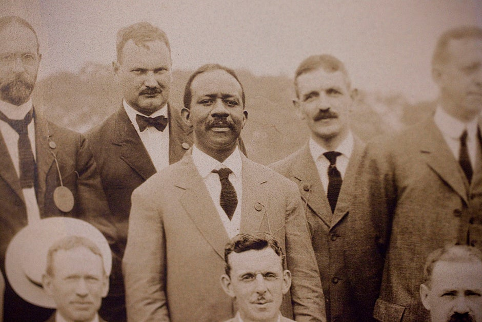 Detail of Clement G. Morgan (center) in a group photo of the 20th Class Reunion of the Class of 1890 on June 28, 1910 in Tempest Knob. Morgan, A.B. 1890, L.L.B. 1893, was the first African American to hold degrees from both Harvard College and Harvard Law School. Credit: Harvard University Archives, HUPSF Class of 1890 (PA 1)