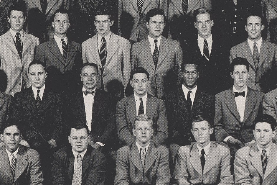 This 1943 yearbook photo shows Drue King (middle row, second from right), whose membership in the 1941 Harvard Glee Club sparked a debate about segregation that contributed to the desegregation of venues for college musical groups touring the South. Credit: Harvard University Archives, call # HUD 343.04