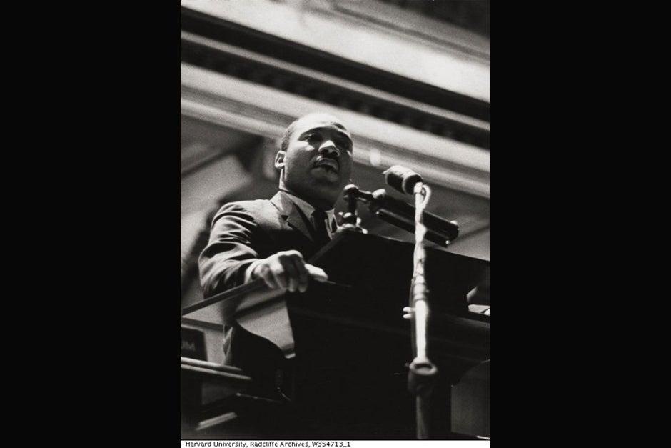 The Rev. Martin Luther King Jr. speaks at Harvard University. Credit: Schlesinger Library, Radcliffe Institute, Harvard University (http://www.radcliffe.edu/schles/)