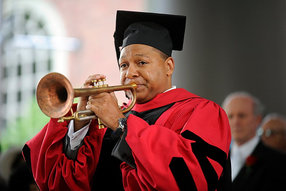 June 4, 2009. Jazz musician Wynton Marsalis sounds his trumpet at Harvard's 358th Commencement Morning Exercises before receiving his honorary degree. Photo by Jon Chase/Harvard Staff Photographer