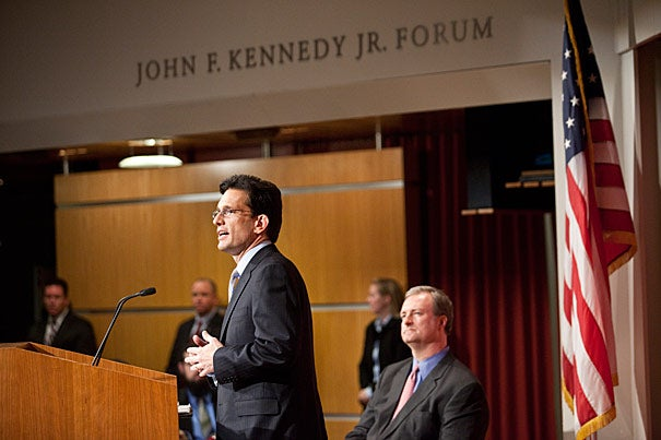 "At the Harvard Kennedy School on Thursday (Feb. 24) House Majority Leader Eric Cantor described America's crossroads as a choice between contrasting images of the future. Long-term, it either will reflect Europeans seeking more benefits from their governments or Americans in town meetings ""demanding an end to the explosive growth of government."""