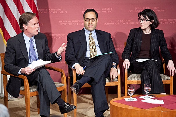 A Feb. 3 Institute of Politics panel discussion on Egypt brought several Harvard experts to the Harvard Kennedy School. Moderated by Nicholas Burns (far left), the panel included Tarek Masoud, Malika Zeghal, Roger Owen, and Rami Khouri. The Kennedy School is currently providing a website forum for faculty and scholars to offer their insight as the situation unfolds.
