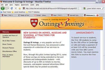 Outings & Innings has provided faculty and staff with deals on events, activities, and local goods for more than 30 years. The new program allows undergraduates and graduate students to share in the savings.