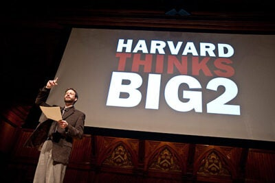 "The second annual Harvard Thinks Big, a student-organized discussion in which 10 speakers have 10 minutes to explore a topic near and dear to their hearts, brought a crowd to Sanders Theatre on Feb. 17. Capturing the stage was lecturer in music Richard Beaudoin, whose topic was ""Experiencing Time in Music."""