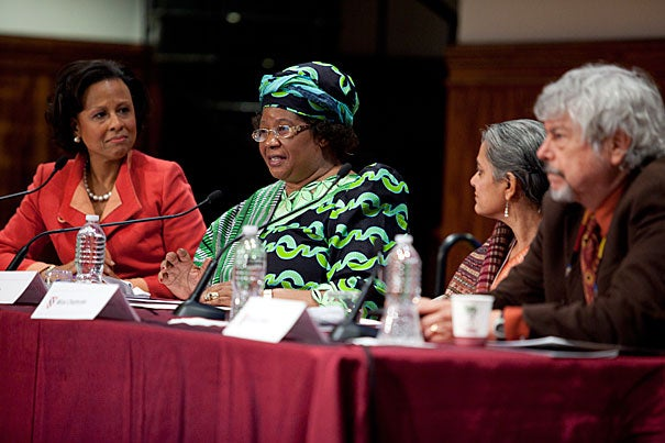 """Driving Change Shaping Lives: Gender in the Developing World,"" a two-day gender conference at Radcliffe, included moderator Paula A. Johnson (from left), Joyce Banda, Mirai Chatterjee, and Kirk R. Smith. In a brief summary of the conference, Jacqueline Bhabha, the Jeremiah Smith Jr. Lecturer in Law at Harvard Law School, acknowledged that empowering women in the developing world requires both top-down and bottom-up approaches."