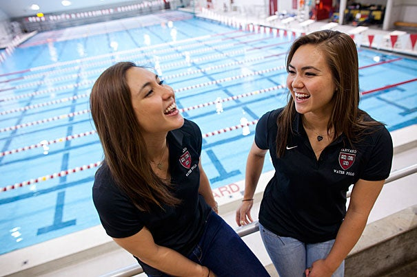 """This was always our dream school,"" said Shayna Price (right), who was recruited to Harvard a year after her sister Aisha '13. Both sisters play water polo, and Aisha is also on the soccer team. ""Not just because it's Harvard, but because it's Harvard and we get the athletic experience as well."""
