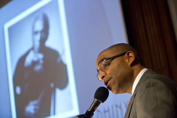 """When Aaron Dworkin's Sphinx Organization was founded in 1998, only about 1.16 percent of orchestras were black. Today that number is up to 2.5 percent. """"We need to look at diversity as something that is critical to the evolution and survival of our field and our art form,"""" said Dworkin. """"We have a great deal of distance to go; we are not yet done by any means."""" Dworkin was at Harvard to receive the Luise Vosgerchian Teaching Award from the Office for the Arts."""