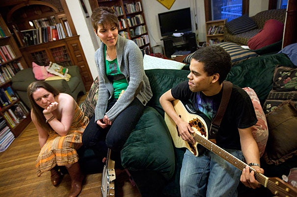 """""""My academic work focuses on how music can be a means to promote social cohesion and also express political protest,"""" said Christopher Johnson-Roberson '11 (far right). """"The jam sessions at the co-op represent a synthesis of all the components of the community that I appreciate."""""""