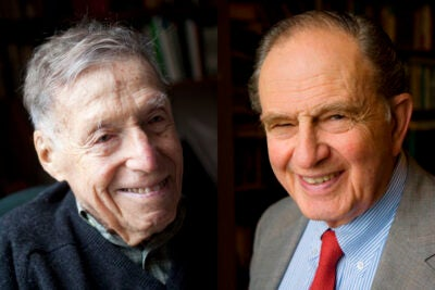 The National Humanities Medal honors individuals or groups whose work has deepened the nation's understanding of the humanities, broadened citizens' engagement with the humanities, or helped preserve and expand Americans' access to important resources in the humanities. Daniel Aaron (left) was recognized for his contributions to American literature and culture, and Bernard Bailyn was recognized for illuminating the nation's early history and pioneering the field of Atlantic history.
