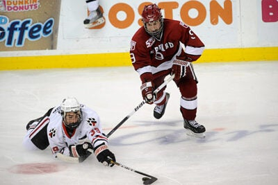 Crimson defenseman Danny Biega '13 races to the puck during the opening round of the Beanpot Hockey Tournament this year.