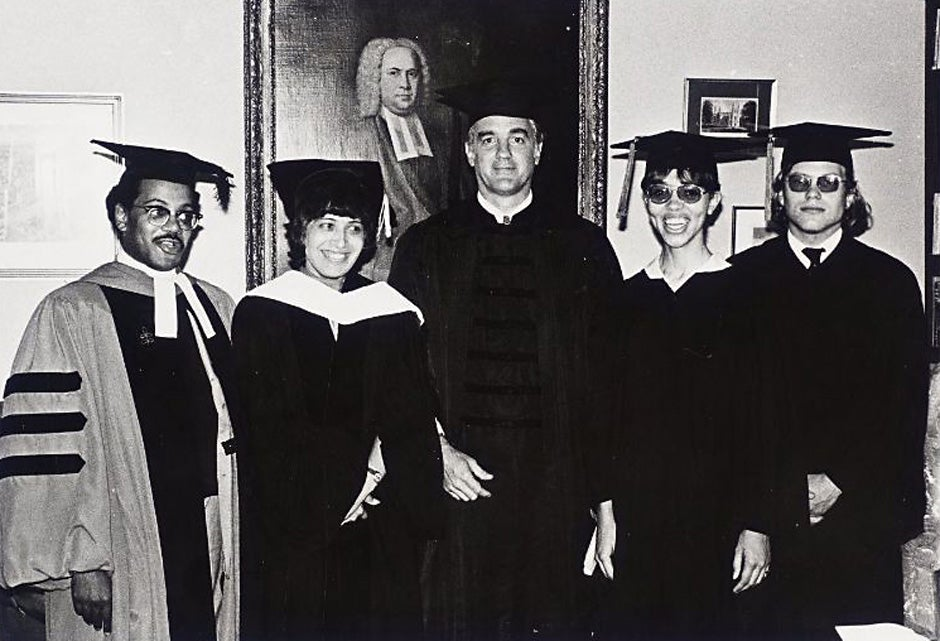 The Rev. Peter J. Gomes (from left) is pictured with Matina Horner and Derek Bok during Harvard's Commencement in 1973. Photo courtesy of Schlesinger Library, Radcliffe Institute, Harvard University