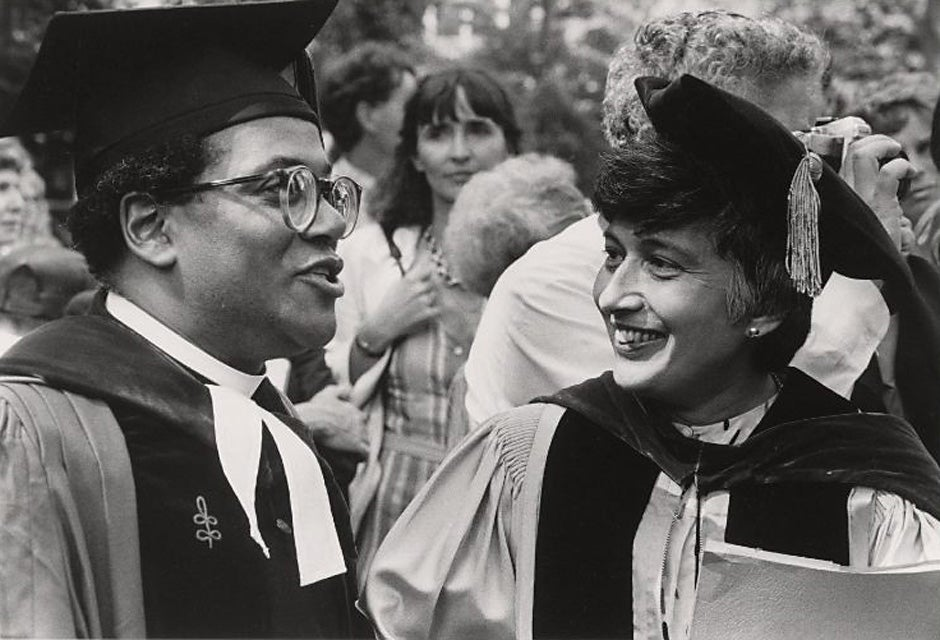 Rev. Peter J. Gomes and Matina Horner in 1983. Photo courtesy of Schlesinger Library, Radcliffe Institute, Harvard University