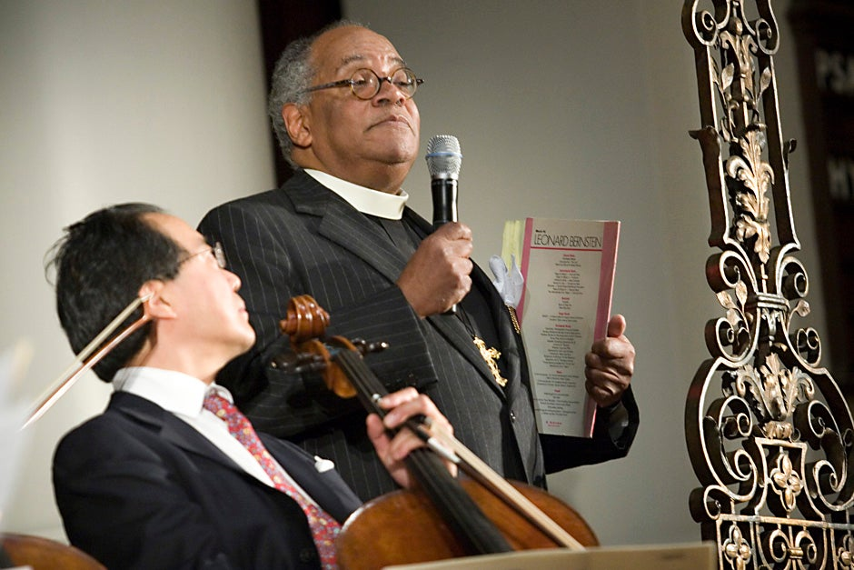 Rev. Peter J. Gomes, Plummer Professor of Christian Morals and Pusey Minister in the Memorial Church, speaks before a performance by cellist Yo-Yo Ma '76 at a benefit concert for the 75th anniversary of the Memorial Church in 2007. Kris Snibbe/Harvard Staff Photographer