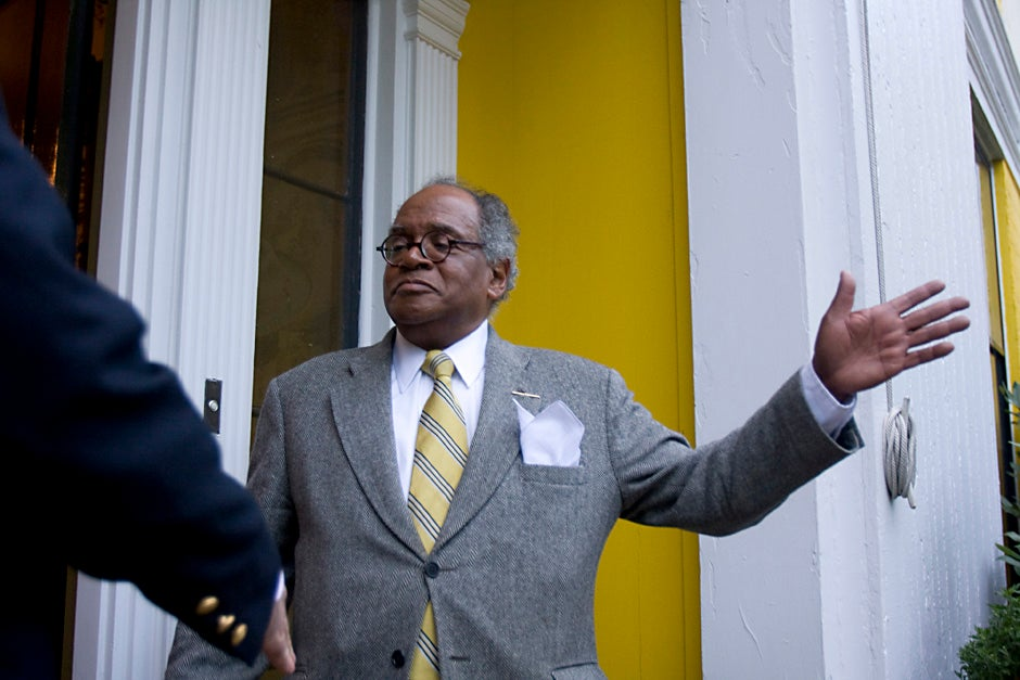 September 2009. Rev. Peter J. Gomes, Plummer Professor of Christian Morals and Pusey Minister in the Memorial Church, hosts Wednesday Tea, a weekly tradition during term inside Sparks House at Harvard University. Kris Snibbe/Harvard Staff Photographer