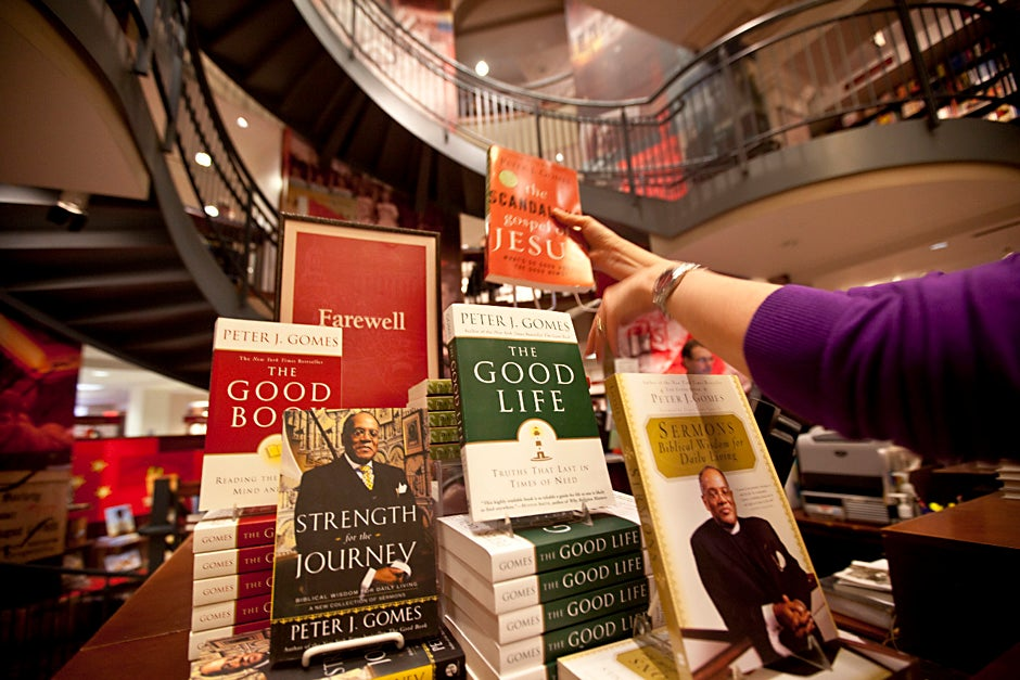 The Harvard Coop stocks a collection of  books written by the late Rev. Peter J. Gomes, Plummer Professor of Christian Morals and Pusey Minister in the Memorial Church, who passed away on Feb. 28, 2011. Kris Snibbe/Harvard Staff Photographer