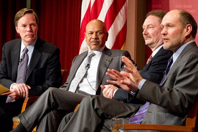Professor R. Nicholas Burns (from left) moderated the Harvard Kennedy School (HKS) forum on Libya. Former Libyan ambassador to the U.S. Ali Suleiman Aujali was joined by Dartmouth College Professor Dirk Vandewalle, and Harvard Professor Stephen Walt, who is chair of HKS's International Security Program.