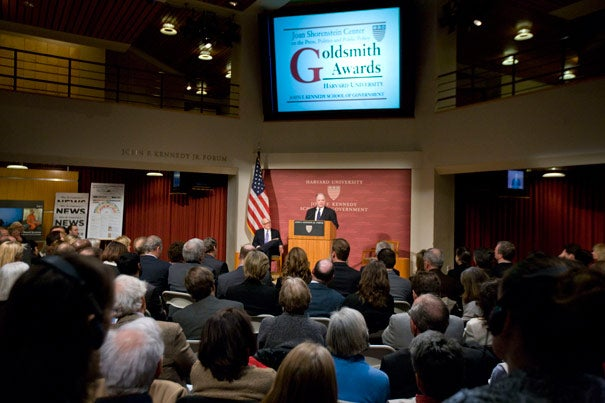 """Departing New York Times op-ed columnist Frank Rich (at podium) received the Goldsmith Career Award for Excellence in Journalism in a ceremony March 7 at Harvard Kennedy School. Shorenstein Center Director Alex Jones said of the award winner, """"His departure is akin to Tom Brady leaving the Patriots."""""""