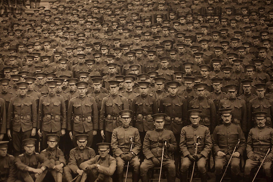 """Harvard University Archives image. Inscription reads, """"Reserve Officers Training Corps, Harvard University, Memorial Day, May 30, 1917."""" Stephanie Mitchell/Harvard Staff Photographer"""