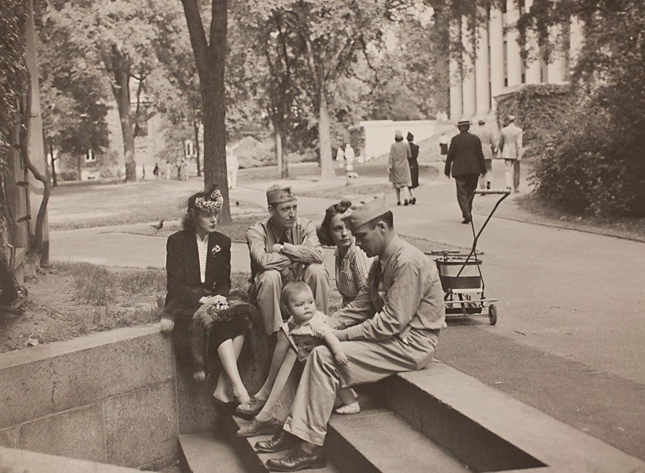 "Harvard University Archives image. Inscription reads, ""Navy, steps of University Hall, October 9, 1943."" Stephanie Mitchell/Harvard Staff Photographer"