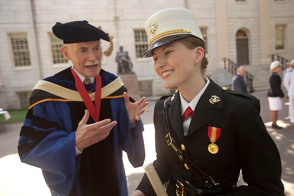 Farish A. Jenkins Jr. (left), professor of biology and curator of vertebrate paleontology, congratulates his former student, Shawna Sinnott '10 during the 2010 ROTC commissioning ceremony at Harvard. Kris Snibbe/Harvard Staff Photographer