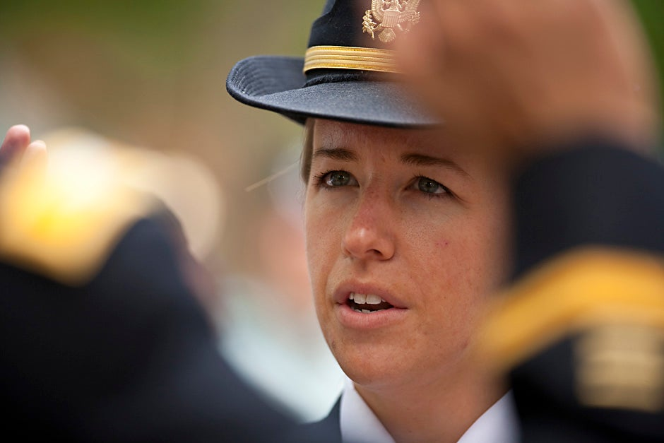 Second Lt. Roxanne Bras is sworn into office during the 2009 ROTC commissioning ceremony at Harvard. Justin Ide/Harvard Staff Photographer