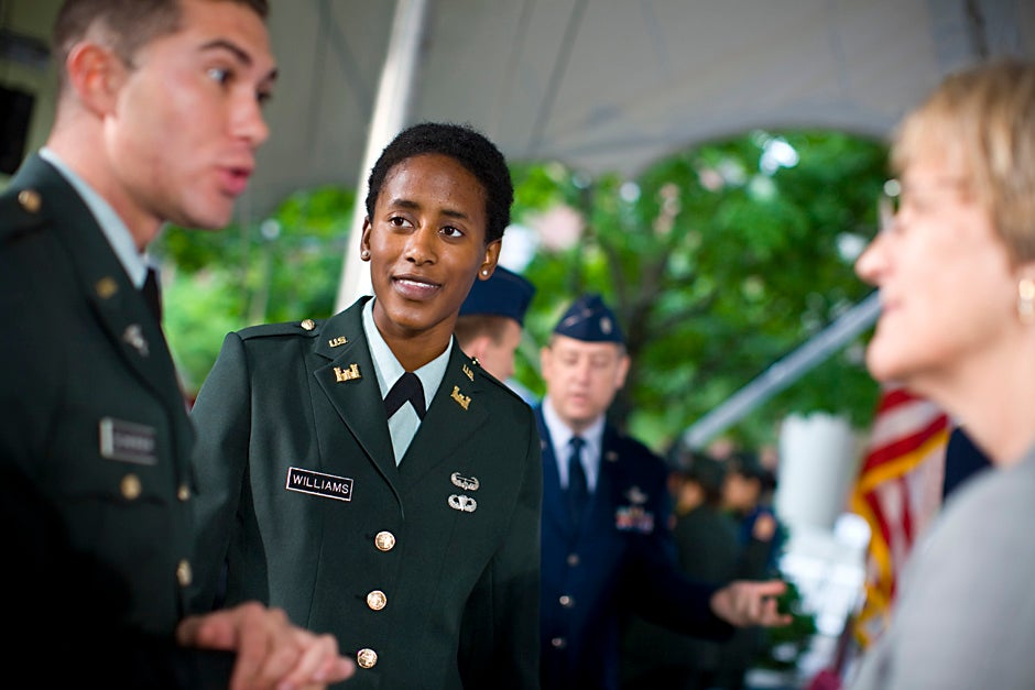 U.S. Army 2nd Lt. J. Danielle Williams (center) and 2nd Lt. Jason M. Scherer talk with Harvard President Drew Faust prior to the 2008 ROTC commissioning ceremony. Justin Ide/Harvard Staff Photographer