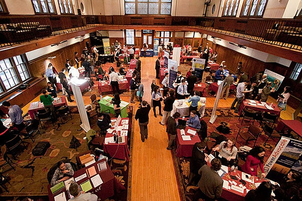 """""""Green"""" employers showcased their products and job openings at the Office of Career Services' second annual Energy and Environment Expo. """"There's enormous opportunity for someone with energy and passion and new ideas,"""" said Charlie Andersen, a marketing/business analyst at MaxLite."""
