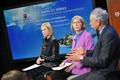 "A Harvard School of Public Health (HSPH) webcast forum focused on a report by the Institute of Medicine on new ""dietary reference intake"" recommendations for both vitamin D and calcium. The panelists included JoAnn Manson (from left) of Harvard Medical School, Bess Dawson-Hughes of Tufts University, and Walter Willett of HSPH. A fourth panelist, Patsy Brannon of Cornell University, joined the discussion via a video uplink."