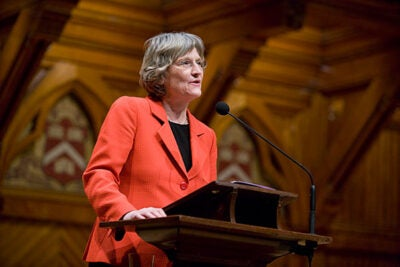 """""""Drew Gilpin Faust is a pathfinder, as a scholar and a leader in higher education. This distinguished historian has revealed for us the lives and minds of those confronted by the turbulent social changes of the Civil War era, and then proceeded to apply extraordinary administrative skills to leadership of one of the world's premier academic institutions,"""" said National Endowment for the Humanities Chairman Jim Leach."""