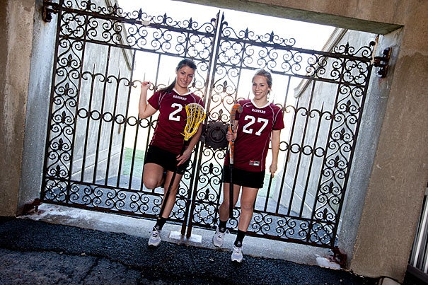 """""""I was prepared for the sacrifices that come with playing sports on a high level and getting my schoolwork done,"""" said Mariah Pewarski (left), who, alongside teammate and fellow freshman Morgan Powell, plays both field hockey and lacrosse."""