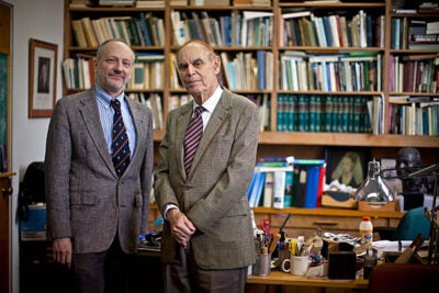 Helping immigrants to prosper is both a practical and a moral imperative, said physicist Gerald Holton (right), who has penned a series of books with Gerhard Sonnert on how immigrants enrich American culture.