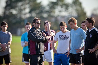 """We can't afford to take anyone lightly. Harvard rugby is the oldest team in the country, so we're a great scalp for any team to take,"" said Harvard rugby coach David Gonzales (above), who is prepping his team for the upcoming national championships."