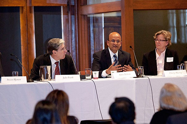 Steven E. Hyman (from left), Julio Frenk, Nitin Nohria, Cherry Murray, and Mohsen Mostafavi discuss the future of South Asia at a conference sponsored by Harvard's South Asia Initiative.