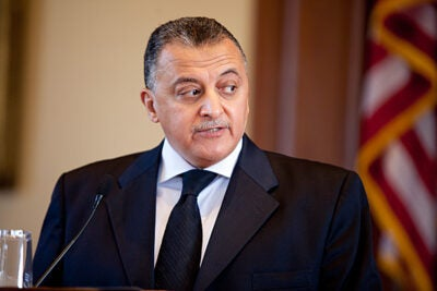 """For so many years, the average person [in Egypt] never had political ambitions in mind,"" said Adel Omar Sherif, the deputy chief justice of the Supreme Constitutional Court of Egypt. Sherif spoke at Harvard Law School on April 14."