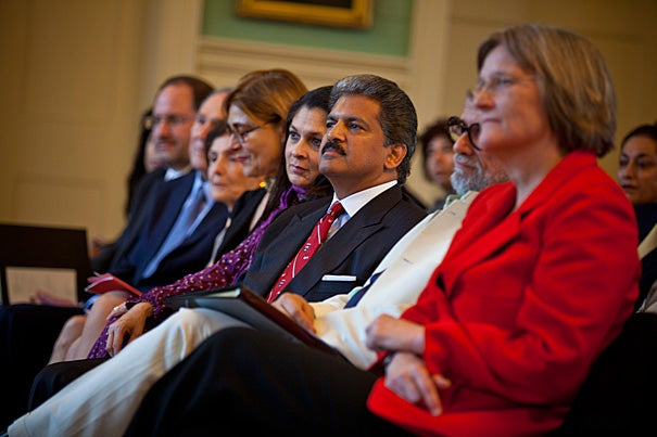 "Anand Mahindra (center), Homi Bhabha, and President Drew Faust attend festivities celebrating the dedication of the Mahindra Humanities Center at Harvard. ""Today we celebrate the freedom this gift will provide for so many at Harvard,"" Faust said."