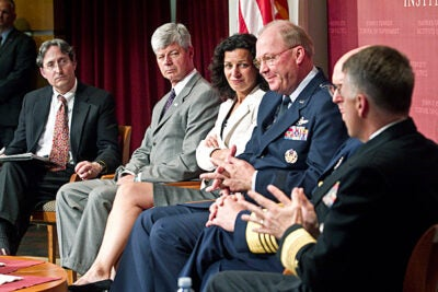 "Some of the top leaders in American homeland security and the military gathered at the Harvard Kennedy School to discuss ""Oil Spills, Earthquakes, Tsunamis & Meltdowns."" ""Are we ready today for a really large-scale event, bigger than any of those we have contemplated?"" asked moderator Herman ""Dutch"" Leonard (from left). Joining Leonard were former Congressman Bart Stupak, Juliette Kayyem, Gen. Craig R. McKinley, Adm. Robert Papp, and Adm. James Winnefeld."