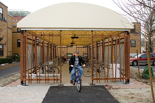 The solar-powered bike rack at the Harvard Divinity School. Photo by Jon Chase/Harvard Staff Photographer