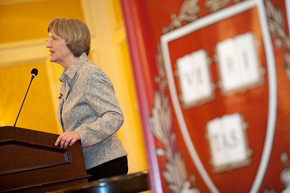 March 20, 2011. Harvard President Drew Faust speaks at the Harvard Club of Chile dinner in the Grand Ballroom at the Ritz-Carlton in Santiago, Chile. Photo by Kris Snibbe/Harvard Staff Photographer