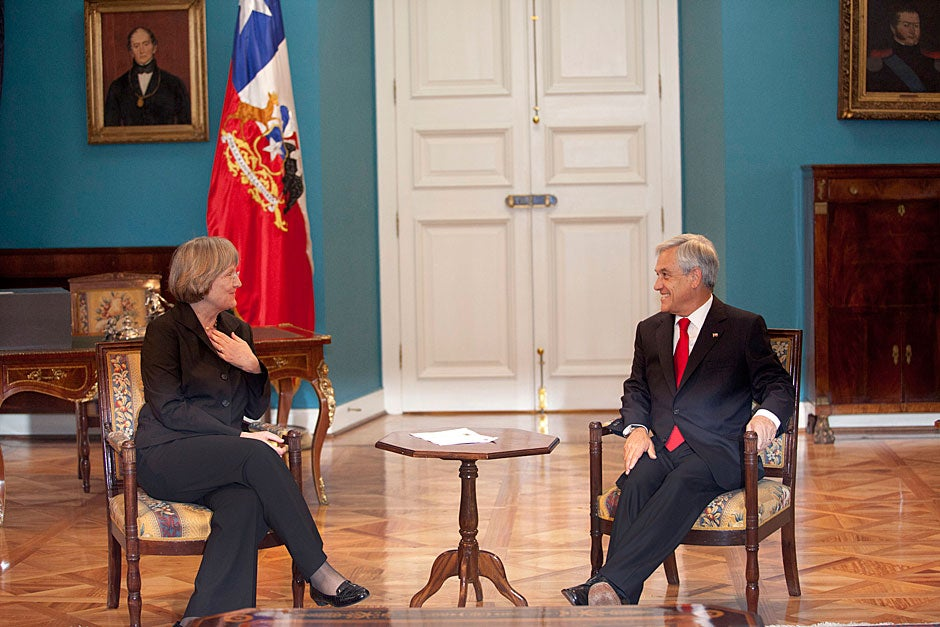 March 21, 2011. Harvard President Drew Faust (left) visits Chilean President Sebastian Piñera inside La Moneda Palace in Santiago, Chile. Photo by Kris Snibbe/Harvard Staff Photographer