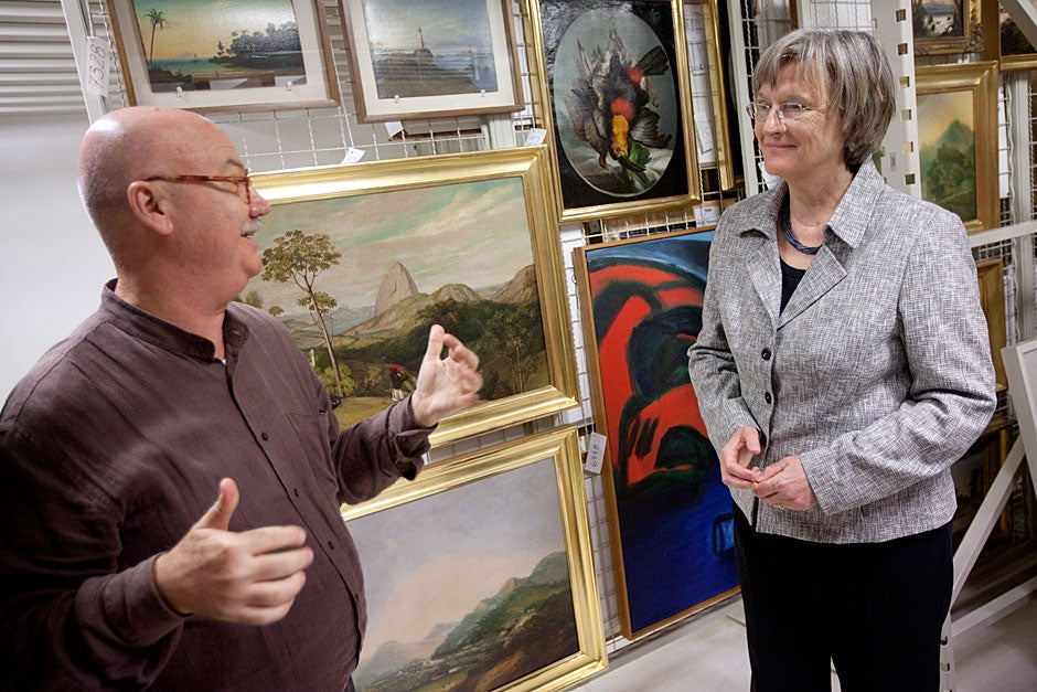March 23, 2011. During a private tour, Harvard President Drew Faust (right) looks at paintings in the Pinacoteca do Estado de São Paulo Museum with curator Carlos Martins. Photo by Kris Snibbe/Harvard Staff Photographer