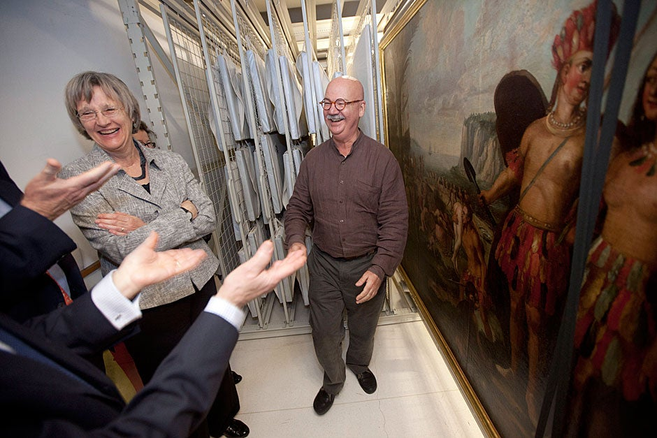 March 23, 2011. During a private tour, Harvard President Drew Faust (left) looks at paintings in the Pinacoteca do Estado de São Paulo Museum with curator Carlos Martins. Photo by Kris Snibbe/Harvard Staff Photographer