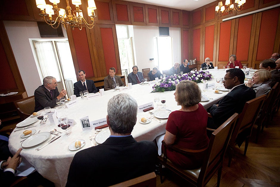 March 24, 2011. Harvard President Drew Faust (at the head of the table) speaks during a lunch with Brazilian university presidents inside São Paulo's Iate Clube de Santos. Photo by Kris Snibbe/Harvard Staff Photographer