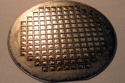 A fully functional solid-oxide fuel cell membrane wafer. The structured surface of each square chip lends stability to the incredibly thin film that is used for the electrochemical membrane.