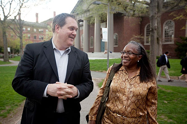 """""""This experience is a missed opportunity in my life, recaptured,"""" said Extension School graduate Ethel Stafford. Stafford studied under Harvard lecturer Tim McCarthy (left) at the Bard College Clemente Course in the Humanities for low-income adults before he encouraged her to apply at the Extension School."""