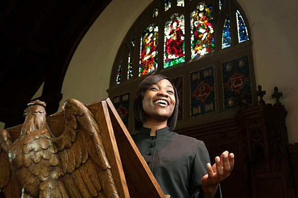 """""""At Harvard, I've been shaped by the narratives and traditions of students whose faith and background are different from my own, without compromising who I am and what I believe in,"""" said Shauntae Smith, a graduating M.Div. student with a dual focus in pastoral care/counseling and preaching."""