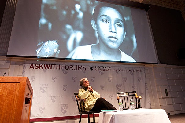 "Longtime children's advocate Marian Wright Edelman told a Harvard Graduate School of Education audience, ""It's time to build an irresistibly loud and adult voice for children."""