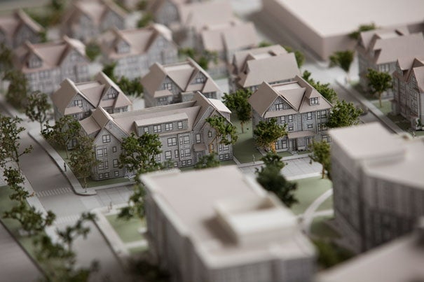 An architectural model of the new Charlesview complex was on display at the groundbreaking ceremony at Brighton Mills May 16. The new facility will provide working families in Allston-Brighton with home-ownership opportunities while bringing new life to the neighborhood.