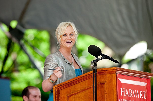 "Comedian and actress Amy Poehler delivered the Class Day address, telling seniors that ""we all know that Harvard is the Harvard of Harvard. And you can quote me on that."""