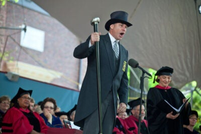 Middlesex County Sheriff Peter Koutoujian brings events to order at the start of Harvard's 360th Commencement.