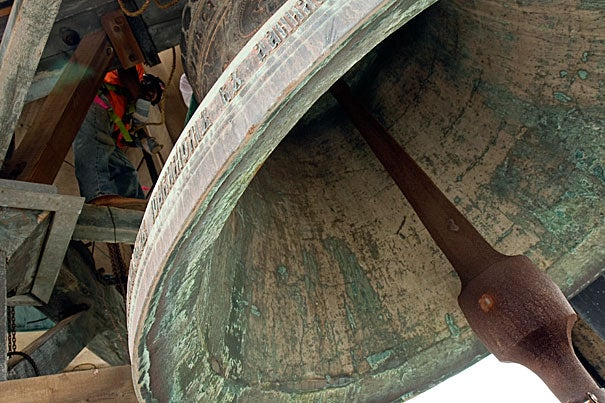 The Lowell House bell, seen here, will join with bells from across Harvard's campus and the surrounding community at 11:30 a.m. and ring for approximately 15 minutes, just after the sheriff of Middlesex County declares the Commencement exercises adjourned.